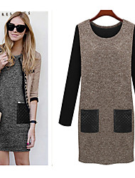 vins      Women's Solid Color Gray Dresses , Casual Round Long Sleeve PLus Size