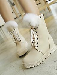 Zapatos de mujer - Tacón Bajo - Punta Redonda - Botas - Vestido - Semicuero - Negro / Blanco / Beige