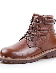 Sapatos Masculinos Botas Preto / Marrom Couro Casual