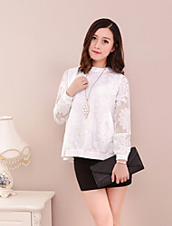 Women's Solid White Blouse , Round Neck Long Sleeve