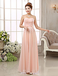 Formal Evening Dress - Blushing Pink Ball Gown Strapless Floor-length Chiffon