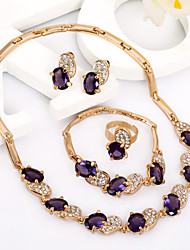 FashionableGold Plated Royal  Imitation Gemstone Jewelry /Fashion Jewelry Set with Stud Earrings # A034P