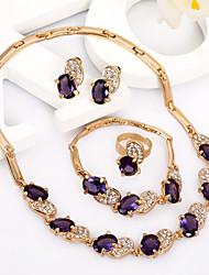 fashionablegold plaqué bijoux / mode royale imitation pierre précieuse sertie de boucles d'oreille # a034p