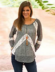 SEXY Women's Color Block Gray T-Shirts , Vintage / Sexy / Casual / Work Round Long Sleeve