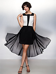 TS Couture Cocktail Party Dress - Color Block A-line Square Asymmetrical Chiffon with Pleats