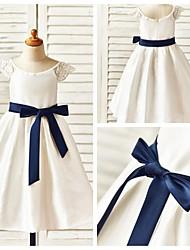 A-line Tea-length Flower Girl Dress - Taffeta Short Sleeve