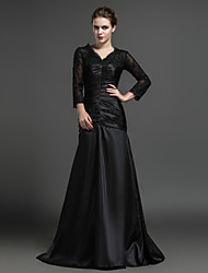 Sheath/Column Mother of the Bride Dress - Black Floor-length Satin / Tulle