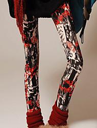 Kvinner Fritid/Trykt mønster Tettsittende Bukser Polyester/Elastisk Elastisk