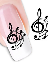 10 Pcs Happy Music Note Water Transfer Nail Stickers