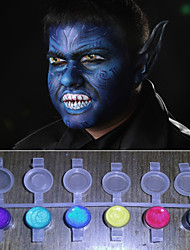 Face Paints Magic Pearl Light Shining colors Pigment Halloween Body painting Face Deco(8 Colors a set with Tools)