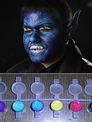 le visage peint perle magique lumière qui brille des couleurs pigment Halloween visage de peinture sur corps déco (8 couleurs, un ensemble d'outils)