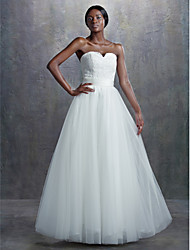 A-line Wedding Dress Vintage Inspired Court Train Sweetheart Lace Tulle with Appliques Sash / Ribbon