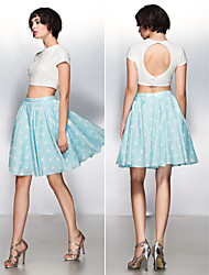 Prom Cocktail Party Dress - Two Pieces / Beautiful Back A-line Jewel Knee-length Jersey with Pattern / Print