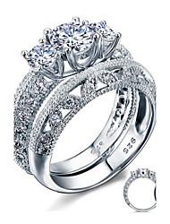Ringe,Silber Runde Form Hochzeit Party Alltag Normal Schmuck Sterling Silber Kubikzirkonia Feder Damen Eheringe 2 Stück,6 7 8 Silber