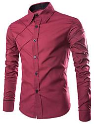 Men's Shirt Collar Casual Shirts , Cotton Blend Long Sleeve Casual Fashion Fall Hman