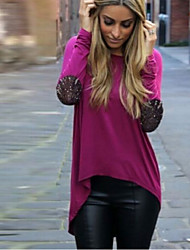 Nastya Women's Solid Color Tops & Blouses , Casual Round Long Sleeve