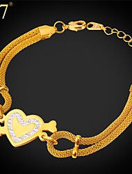 U7® Women's Romantic Heart Charm Bracelet Fashion Jewelry Gift Stainless Steel/Gold Plated Girl Bracelet