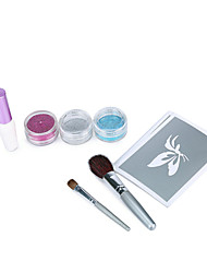 2 Sets Glitter Tattoo Kit For Temporary Body Paint With Glitter Tattoo Stencils,Powders,Gel and Brushes