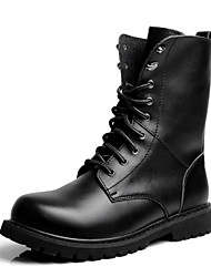 Men's Shoes Leather Casual Boots Casual Low Heel Lace-up Black