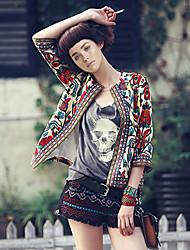 Women's Jacquard Black / Khaki Jackets , Vintage / Plus Sizes Round Neck Long Sleeve