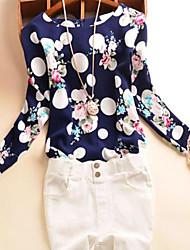 Women's Print / Polka Dot Blue / White T-shirt , Round Neck Long Sleeve