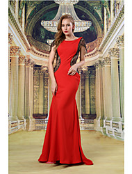 Formal Evening Dress - Ruby Sheath/Column Bateau Floor-length Lace/Satin
