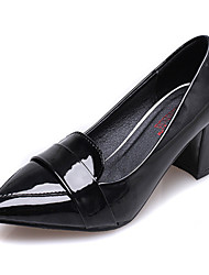 Women's Shoes   Chunky Heel Pointed Toe Heels Casual Black/Silver