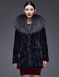 Women's Fashion Casual Raccoon Dog Fur Spliced Genuine/Real Natural Mink Fur Coat/Jacket