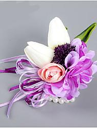 Petit bouquet de fleurs au poignet ( Pourpre , Satin / Satin élastique ) Roses