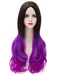 New Style Harajuku Long Wavy Black Purple U Part Hair Purecas Lolita Fashion Party Women Synthetic Wig