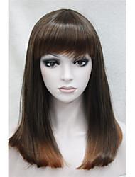 brun naturel à la fraise blond femmes hétérosexuelles pleine perruque de cheveux synthétiques avec une frange