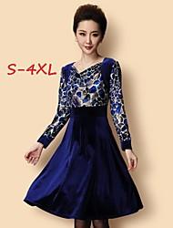 Women's Leopard Blue Plus Size Dresses , Party/Work V-Neck Long Sleeve