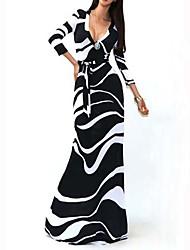 Mulheres Vestido Maxi Manga Longa Decote V Vazado Mulheres