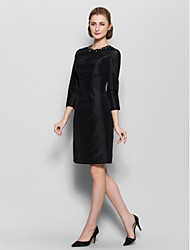 Lanting Sheath/Column Mother of the Bride Dress - Black Knee-length 3/4 Length Sleeve Nylon Taffeta
