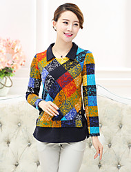Women's Patchwork Red / Yellow T-shirt , Shirt Collar Long Sleeve