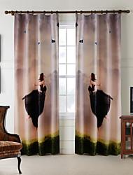 одна панель дома моды современный полиэстер полет девушка и Буле бабочка печати занавес