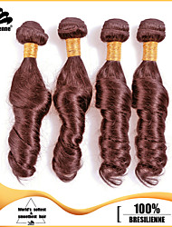4Pcs/Lot Virgin Human Hair Weaves Ocean Wave Hair Weft Chocolate Brown Brazilian Human Hair Weaves