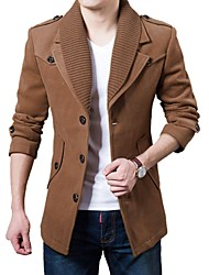 Men's Slim Fit Long Sleeve Wool Button Up Mid Length Jacket