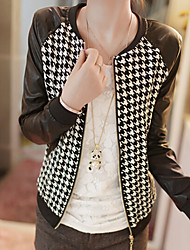 Women's Plaid PU Patchwork Zipper Jackets , Casual Round Neck Long Sleeve