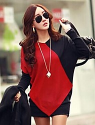 SEXY Women's Color Block Red T-Shirts , Vintage / Sexy / Casual / Work Round Long Sleeve
