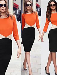 Women's Patchwork Orange Dresses , Bodycon Round Long Sleeve