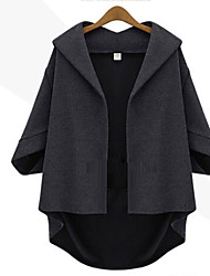 Women's Solid Black Coat , Casual / Plus Sizes ¾ Sleeve Roman Knit