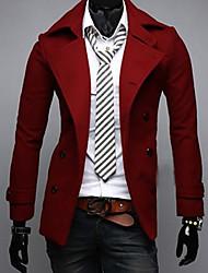 Men's Solid Casual Coat,Wool Blend Long Sleeve-Black / Brown / Red / Gray