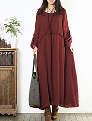 Women's Solid/Patchwork Red/Navy Blue Dress , Vintage/Casual Loose Asymmetric Round Neck ¾ Sleeve(Linen/Cotton)