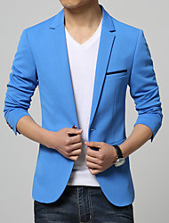 Men's Solid Casual / Work / Formal Blazer,Cotton Blend Long Sleeve Blue / Red / Beige / Tan