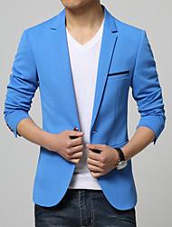 Blazer Hommes,Couleur Pleine Décontracté / Quotidien Travail Habillées Grandes Tailles Manches Longues Coton Polyester
