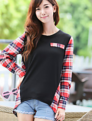 Women's Pattern Color Tops Type , Leisure Round Neck Long Sleeve