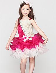 A-line Knee-length Flower Girl Dress - Cotton / Satin Sleeveless