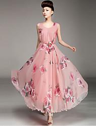 Women's Print Blue / Pink Dress , Print Round Neck Sleeveless