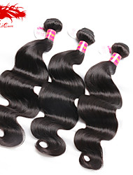 Ali Queen Hair products  6A Brazilian virgin hair Body wave Natural Black Hair 3pcs/Lot With DHL Free Shipping